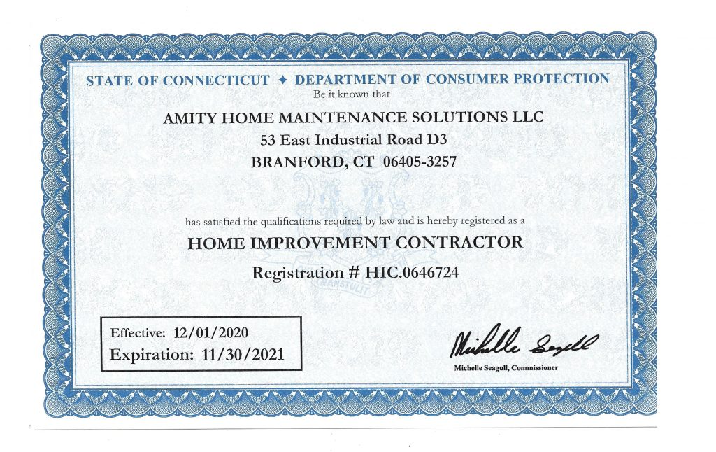 Ct Hic 0646724 Amity Home Maintenance Solutions We Simplify The Customer Experience Home Improvement Company Serving New Haven Fairfield County And Surrounding Areas Menu Home About Us Certifications Gaf Certified License Guaranty