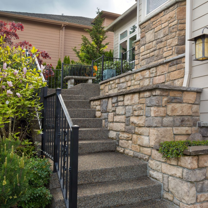 A home with a stone veneer