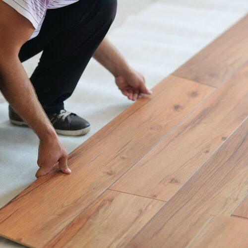 laminate flooring installation in the works